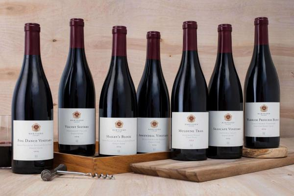 Group of Hartford Pinot Noir bottles